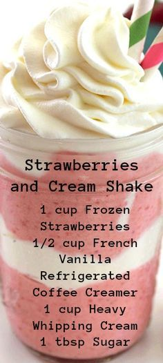 Strawberries and Cream Shake ~ Perfect make at home summer treat… Super tasty and always cools you down. Strawberries and Cream Shake ~ Perfect make at home summer treat… Super tasty and always cools you down. Milkshake Recipes, Easy Smoothie Recipes, Easy Smoothies, Smoothie Drinks, Snack Recipes, Milkshakes, Drink Recipes, Fast Recipes, Protein Smoothies