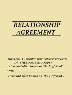 The Relationship Agreement / would you sign it?