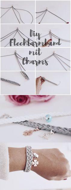 DIY jewelry braided bracelets with charms make yourself - DIY Schmuck Flechtarmbänder mit charms selber machen DIY jewelry – make braided bracelet yourse - Diy Jewelry Rings, Diy Jewelry Unique, Diy Jewelry To Sell, Diy Jewelry Holder, Diy Jewelry Making, Bracelet Making, Jewelry Crafts, Jewelry Art, Beaded Jewelry