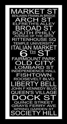 Subway Sign Art Philadelphia Destination Typography by PaperBleu, $23.00