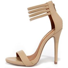 First Prize Nude Ankle Strap Heels (460 ARS) ❤ liked on Polyvore featuring shoes, pumps, tan, wrap shoes, tan pumps, strappy stilettos, high heel stilettos and strappy shoes