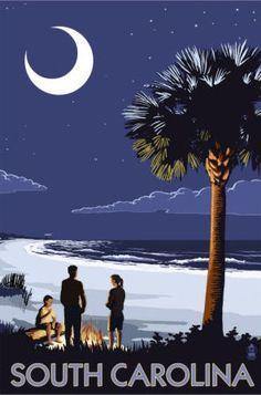 Vintage Travel Poster  - South Carolina - Edisto Beach.