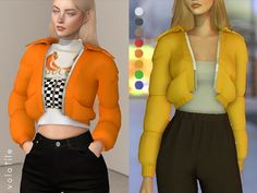 The Sims 4 Velour Cropped Puffer. Sims Mods, Sims 4 Game Mods, Vêtement Harris Tweed, Sims 4 Seasons, Vetements Clothing, Best Sims, Sims4 Clothes, Sims 4 Dresses, Sims 4 Gameplay