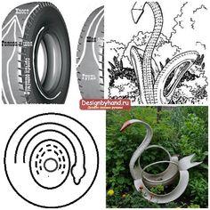 Лебедь из покрышки для украшения дачи. Делаем своими руками Garden Crafts, Diy Garden Decor, Garden Projects, Tired Animals, Tire Craft, Painted Tires, Tire Garden, Reuse Old Tires, Tire Furniture