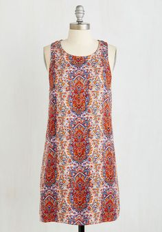Past But Not Least Dress - Woven, Multi, Red, Print, Casual, Boho, Shift, Sleeveless, Summer, Good