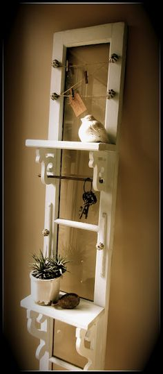 Make an entryway shelf out of an old window... this is cool! via homeroad.net