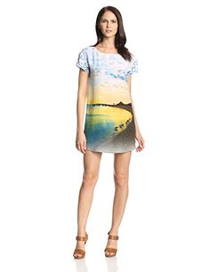 Twelfth Street by Cynthia Vincent Women's La Jolla Cove Short Sleeve Shift Dress, La Jolla Cove, Medium