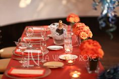 Sweetheart table arrangement of roses