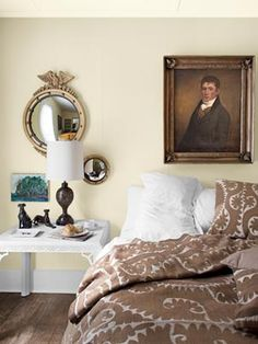 An Eclectic Mix Among the finds in this bedroom: a circa-1810 English oil painting; an antique suzani blanket and shams from Jayson Home & Garden; and a midcentury chinoiserie table, one of a pair snagged at an estate sale for just $200.    Read more: Bedroom Design Ideas - Guide to Bedroom Design - Country Living .