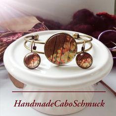 Cabochon Schmuckset Armreif/Armband 25mm und Ohrhänger 12mm Bronze Blumenranke Holzoptik