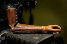 Antique Leather Prosthetic Arm.