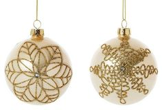 S/4 Uptown Snowflake Ornaments, Gold