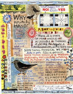 thenearsightedmonkey:  Writing by hand… does it ring a bell? Does it ring and ring? (Image by Lynda Barry)  How soft the music of those village bells, Falling at interval upon the ear In cadence sweet; now dying all away, Now pealing loud again, and louder still, Clear and sonorous, as the gale comes on! With easy force it opens all the cells Where Memory slept.   — William Cowper- Task (bk. VI, l. 6)  Source … and other source