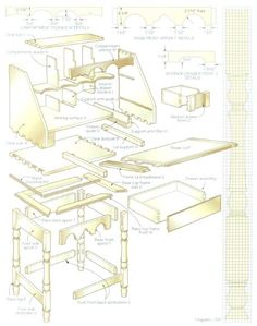 Woodworking plan for desk. Complete woodworking plans with detail descriptions can be found on my website: www.