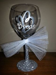 BRIDE Glitter Stemmed Wedding Wine Glass for by ByJusteenCrafts, $8.00