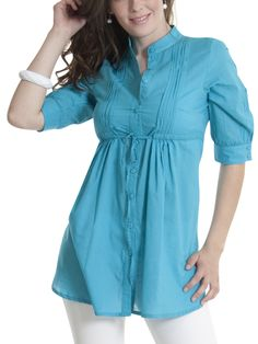 Blusas modernas y faciles de hacer - Imagui Tunic Blouse, Tunic Tops, Modelos Fashion, Blouse Models, Pregnancy Outfits, Muslim Women, Maternity Dresses, Designer Dresses, Casual Dresses