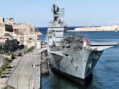 HMS Ark Royal R-07 at Grand Harbor, Malta.
