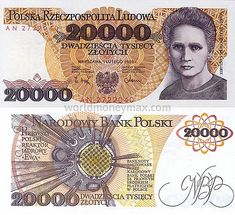 Польша 20000 Злотые 1989 банкнота :: WorldMoneyMax.ru Marie Curie, Pierre Curie, Euro Coins, Poland, Projects To Try, Wallpaper, Pools, Nostalgia, Stamps