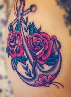Anchor and rose tattoos at http://tattooparadise.org/anchor-tattoos/. #rose, #anchor, #tattoos