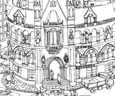 Detail of Jane Gerwitz's work 'Bradford Before the Hole'   Jane is an illustrator. She lives in Bingley