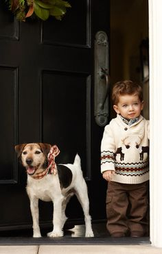 Adorable little boy and dog