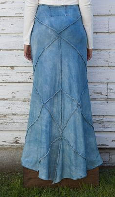 Alabama Chanin skirt with diamond patterns.  The shaping is all in the seams.