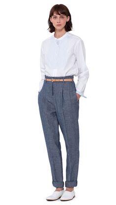 WOMEN SPRING SUMMER 2016 - White cotton poplin contrast bib shirt, blue linen chambray pleated high waist trouser, light buff leather roller narrow belt, white cotton canvas/leather Chelsea shoe