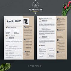 Resume / CV Design Template with Cover Letter Cv Design Template, Modern Resume Template, Resume Template Free, Creative Resume Templates, Free Resume, Templates Free, Resume Tips, Resume Cv, Resume Design