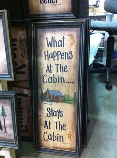 What Happens at the Cabin Stays at the Cabin sign  framed rustic cabin decor GREAT hostess gift