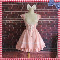 summer Small Fresh cute Lolita High waist sleeveless Strap chiffon Flounced pink girl dress Mori Girl Style ball gown lace dress