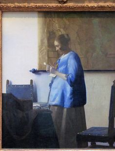 Woman Reading a Letter, Johannes Vermeer, c. 1663 - Johannes Vermeer - Artists - Explore the collection - Rijksmuseum Johannes Vermeer, Delft, Vermeer Paintings, Kunst Online, Dutch Golden Age, Getty Museum, Dutch Painters, Woman Reading, Dutch Artists