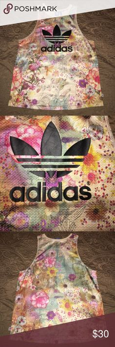 Floral Adidas Top No signs of wear. Only worn once. Adidas Tops Tank Tops