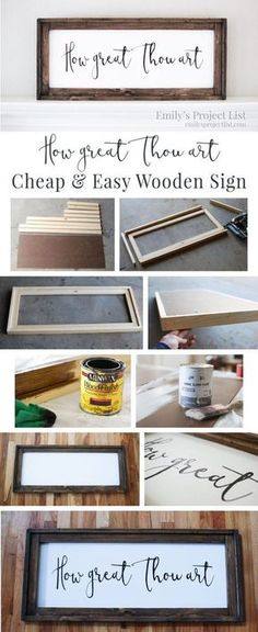 Cheap and Easy DIY Farmhouse Wood Signs - A Step-by-Step DIY Tutorial! Want to learn how to make easy DIY farmhouse wood signs? Get my tutorial and learn the cheapest and easiest way to make farmhouse signs without stencils! Diy Pallet Projects, Diy Craft Projects, Diy Wood Crafts, Easy Wooden Projects, Pallet Ideas, Canvas Projects Diy, Wood Projects To Sell, Wood Board Crafts, Rustic Crafts