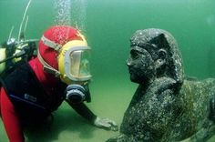Underwater archaeology, I believe this photo was taken during an excavation off the coast of Alexandria in Egypt. Under The Water, Under The Sea, Ancient Egyptian Cities, Ancient History, Marine Archaeology, Bbc, Sunken City, Alexandria Egypt, Shadow Warrior