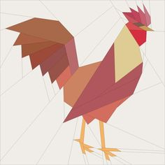paper pieced Red Cross Rooster
