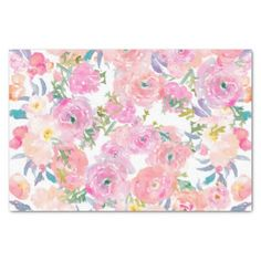 purple and pink watercolor flowers pattern tissue paper - personalize gift idea special custom diy or cyo
