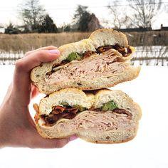 Sandwiches in a snowy beach town #Westhampton #beach #sandwich #SunsetDeli #turkey #bacon #avocado #cheese #eeeeeats #instaeats #instafood #eatingnewyork #hamptons #food #foodie #foodpic #foodporn #Padgram