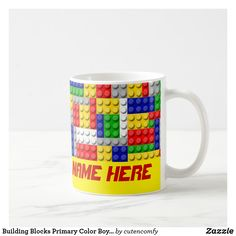Building Blocks Primary Color Boy's Personalized Coffee Mug Personalized Coffee Mugs, Personalized Cups, Online Gift Shop, Online Gifts, Create Your Own, Create Yourself, Stainless Steel Coffee Mugs, Funny Coffee Mugs, Boy Birthday Parties