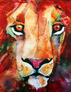 Soulful Lion Print Watercolor Painting Lion by JessicaMingoDesigns                                                                                                                                                                                 More