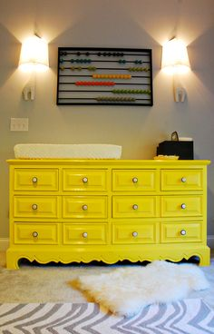 "THIS IS a very happy yellow - repurposed dresser. They used, ""Benjamin Moore Bold Yellow in their low VOC Aura line - And thin paint requires lots of coats. 4 coats later, happy with the lacquer-like coverage achieved ( also put on 2 coats of high gloss polyurethane)"""