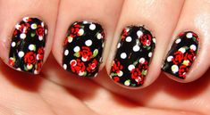 B&W Red Rose Nails