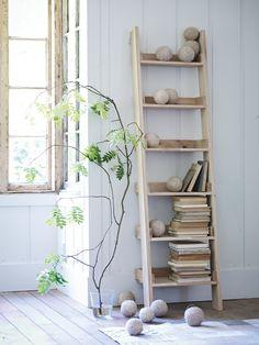 Talbot Raw Oak Wooden Ladder Shelf - Decorative Home - Indoor Living
