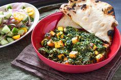 Palak Paneer with Naan Bread & Kachumber Salad