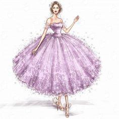 Эскизы - рисунок коктейльного платья