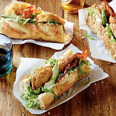 Fried Green Tomato Po'boys     Try a BLT version. Layer a French baguette with Rémoulade Sauce, shredded lettuce, bacon, avocado slices, and Fried Green Tomatoes.  6 Ways with Green Tomatoes     Crisp, golden-crusted, and hot-off-the-skillet. Could it get any better than classic fried green tomatoes? Make that call after you try some of these new ways with green tomatoes.