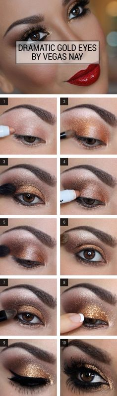 Golden Glitter | The Top 5 Glitter Eye Makeup Looks for NYE - Dramatic Eyeshadow Ideas by Makeup Tutorials at http://makeuptutorials.com/top-5-glitter-eye-makeup-looks-nye/