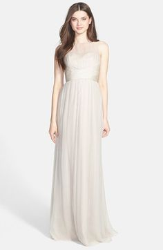 Amsale Illusion Yoke Crinkled Silk Chiffon Gown available at #Nordstrom  : In champagne or blush