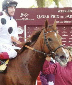 Ribbons and Frankie Dettori after finishing second in the Prix de L'Opera Longines (Group 1) at Longchamp, France on 5 October 2014.