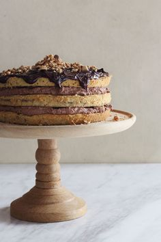 Hazelnut & Coffee Layered Cake - This is the way to have your coffee and cake all in one go! Healthy Cake Recipes, Sweet Recipes, Delicious Desserts, Chocolate Hazelnut, Melting Chocolate, Chocolate Cakes, Coffee Dessert, Coffee Coffee, Cakes Plus