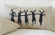 Dancing Bunnies Pillow Cover Black or Vintage by larksongcreations, $27.00